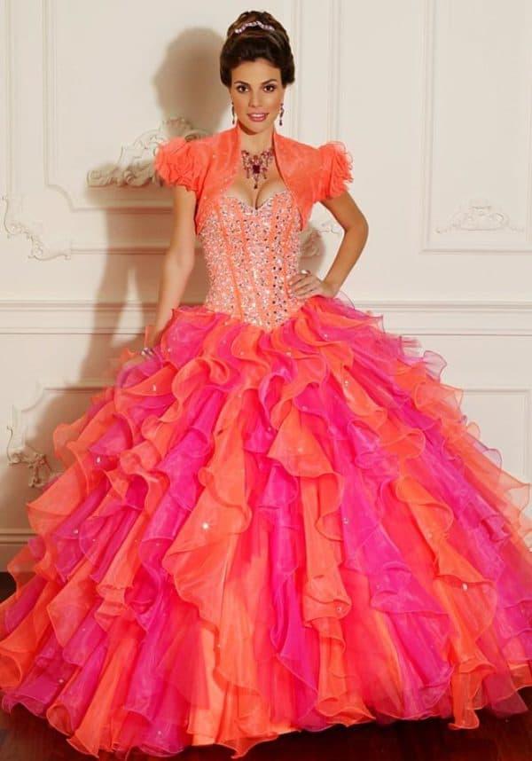 Разноцветное бальное платье