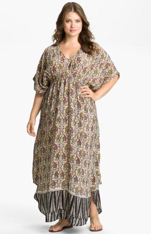 льняное платье в стиле бохо для полных