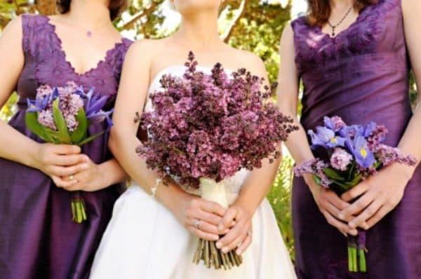 Сине-лиловые платья для подруг на свадьбе