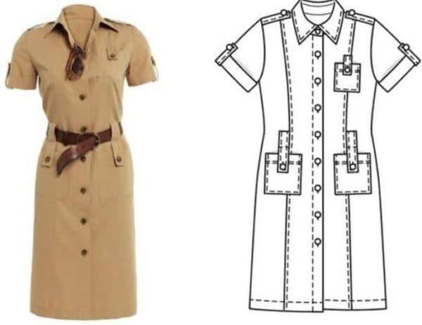 Платье сафари с накладными карманами