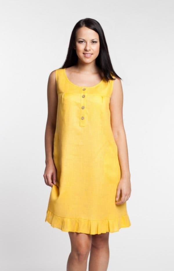 Льняной сарафан желтого цвета для полных