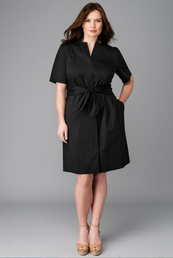 Черное платье-рубашка для полных