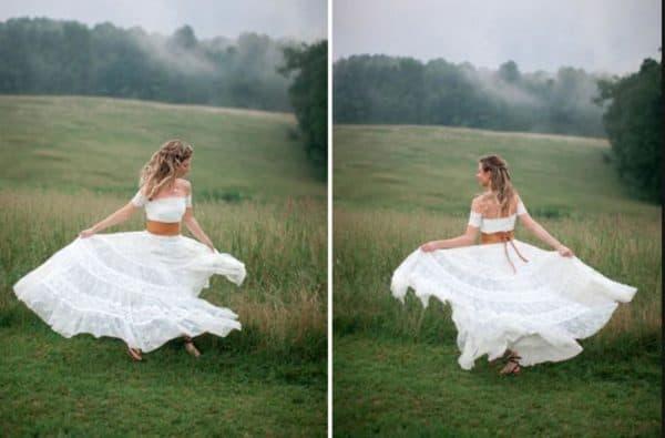 Свадебное платье в стиле рустик с коричневым поясом