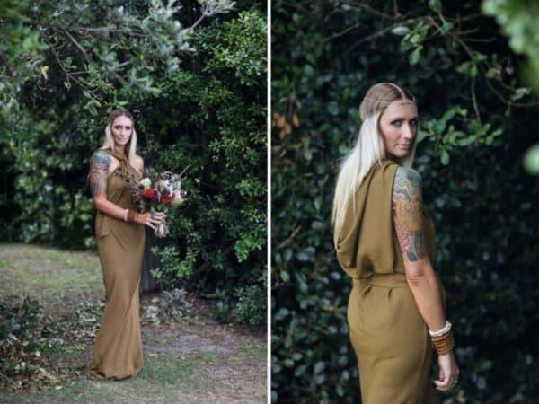 Свадебное платье в стиле рустик коричневое