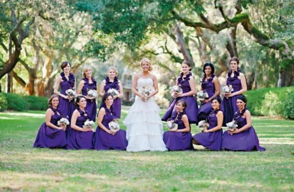 Фиолетовые наряды подружек невесты