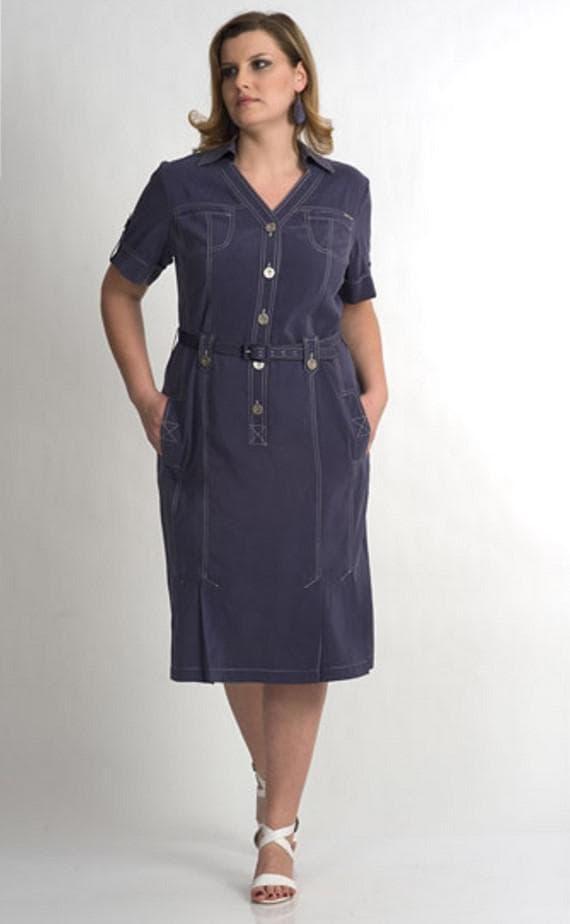 Платье сафари темно-синего цвета