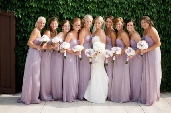 Платья в пол для подруг невесты сиреневые