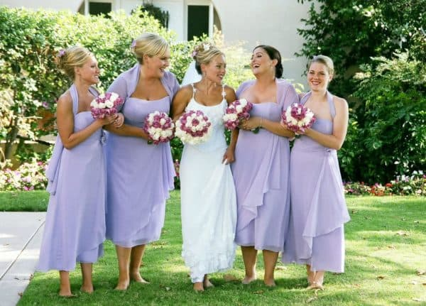 нежно-сиреневые платья для подружек невесты