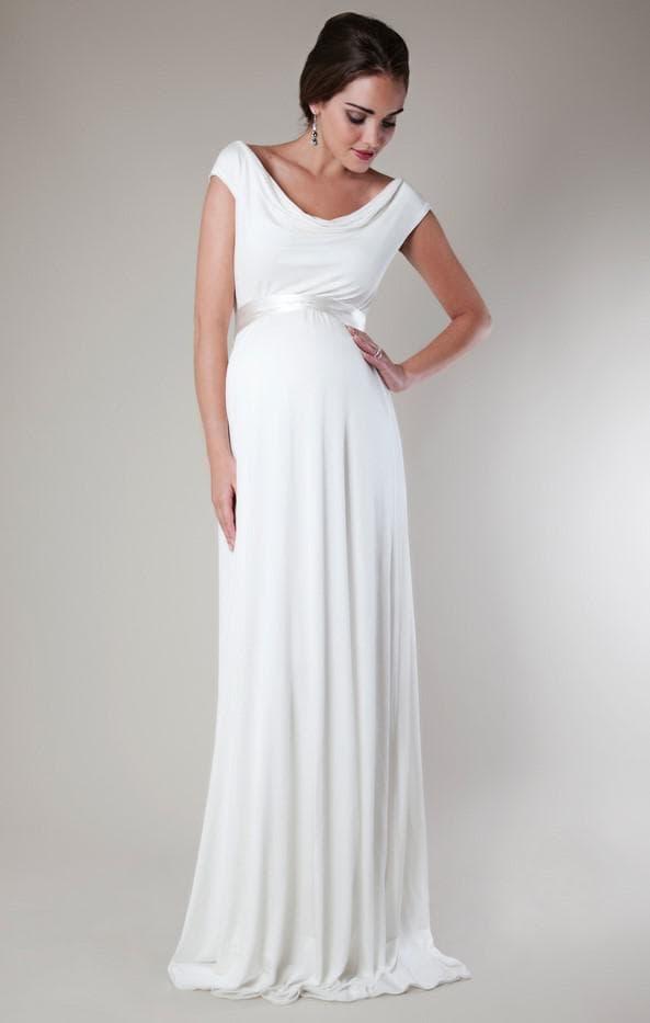 Длинное белое платье на свадьбу для беременной