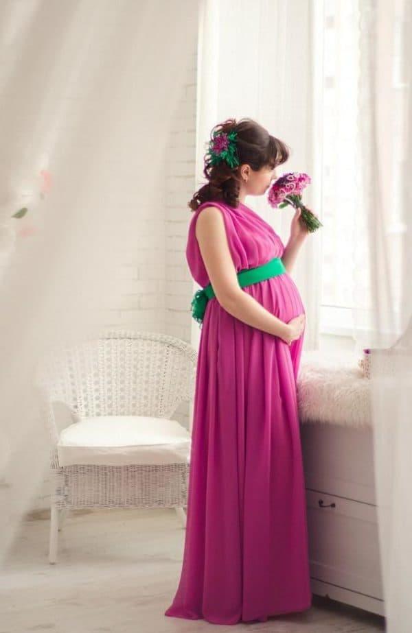 Розовое свадебное платье для беременной на свадьбу