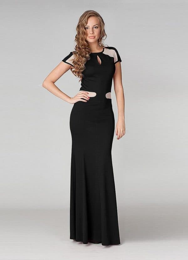 Элегантное черное длинное платье