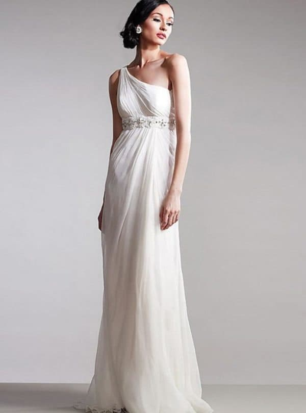 Модель платья в греческом стиле через одно плечо