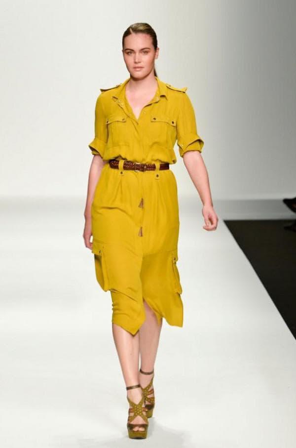 Желтое платье сафари для полной девушки