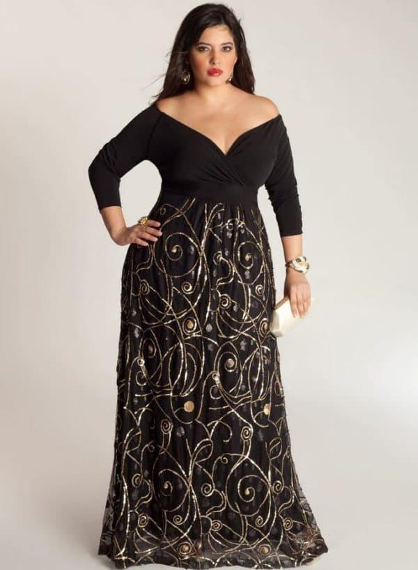 платье в пол с рукавами три четверти