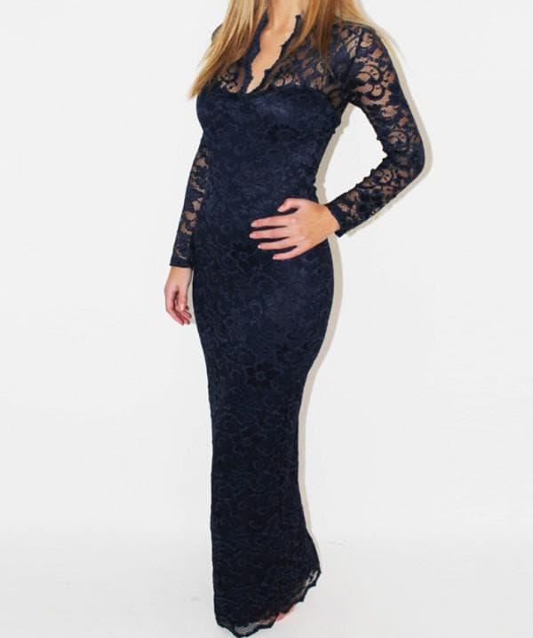 длинное синее платье для полных