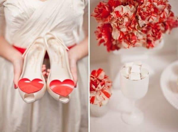 аксессуары для платья невесты с поясом красного цвета