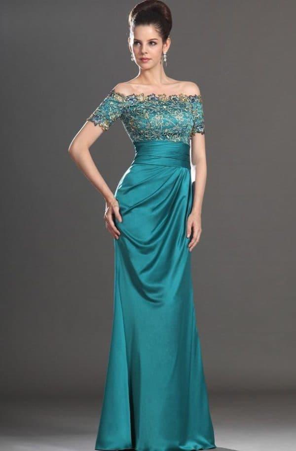 длинное платье цвета морской волны