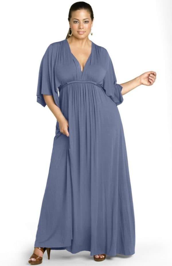 платье в пол серого цвета для полной леди