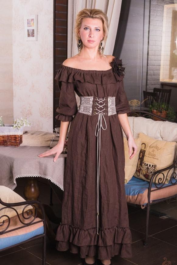 коричневое бохо платье длинное