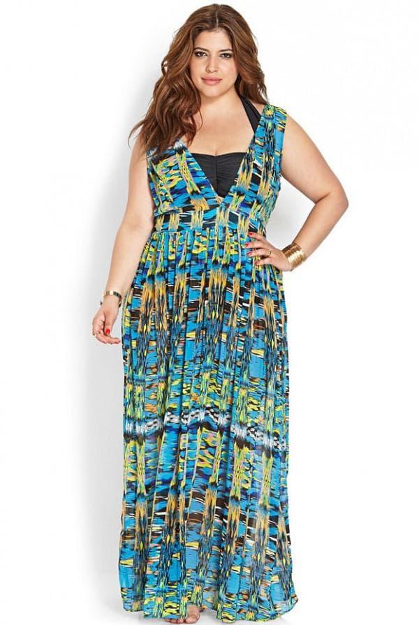 летнее длинное платье для полной девушки