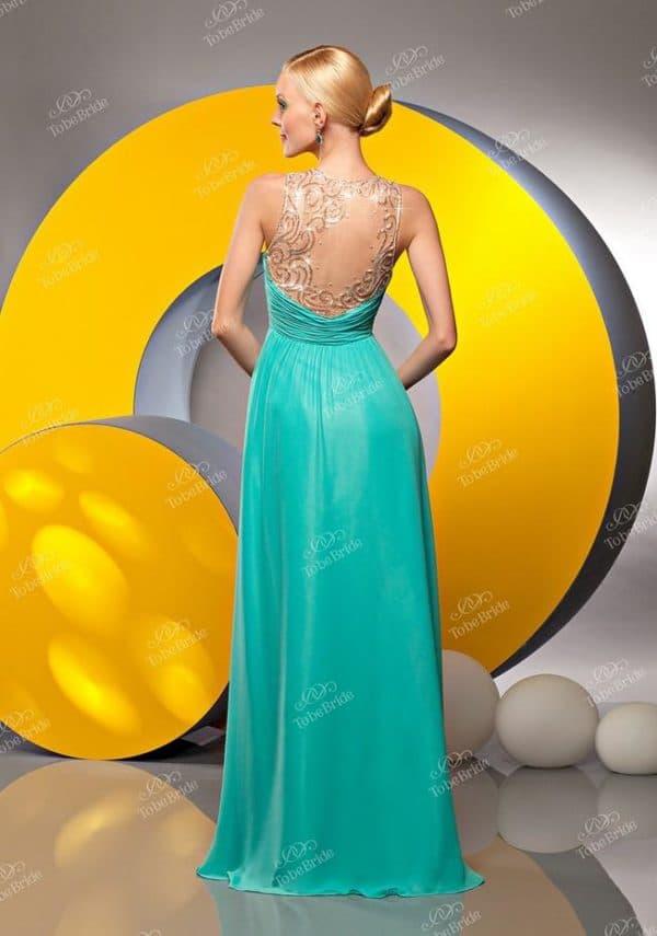 вечернее платье в пол бирюзового цвета