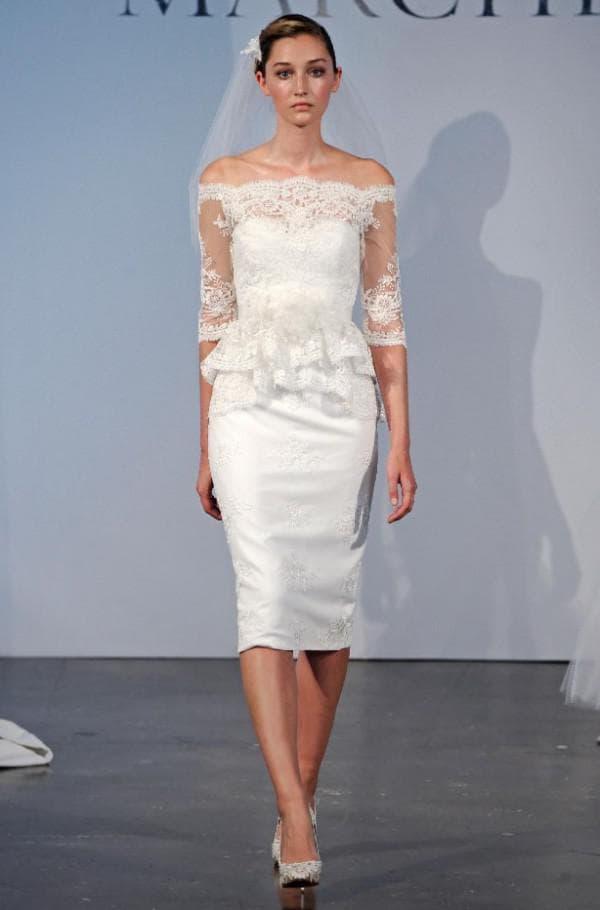 Короткое платье с баской для невесты
