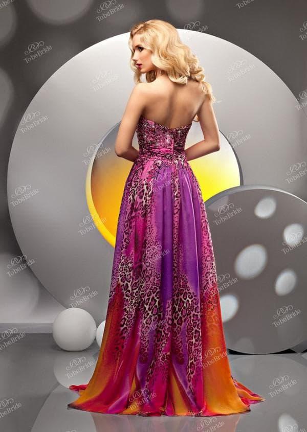 длинное разноцветное вечернее платье