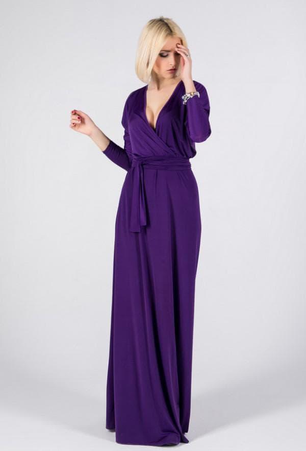 повседневное платье фиолетового цвета в пол