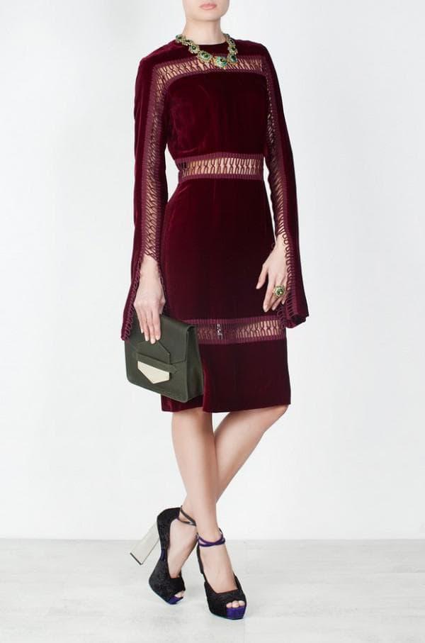 платье миди цвета марсала