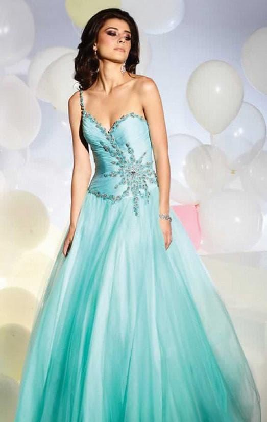 пышное вечернее платье бирюзового цвета