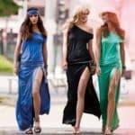 Длинное платье с разрезом на ноге — стильное и сексапильное решение