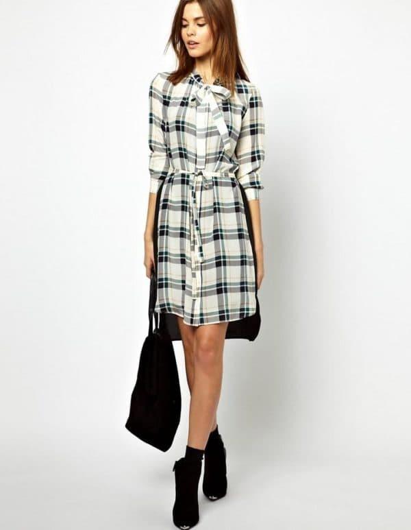 платье рубашка в клетку на осень