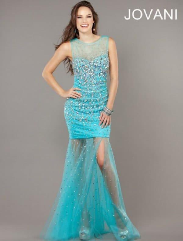 платье цвета тиффани с прозрачной юбкой