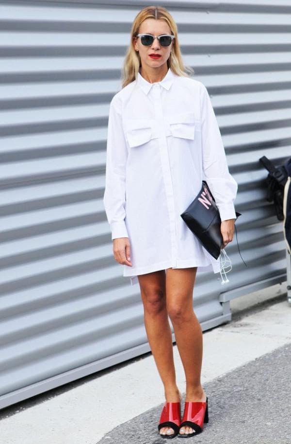 белое платье рубашка с чем носить