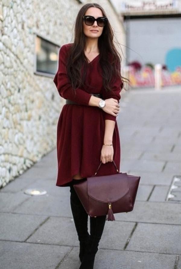 осеннее платье цвета марсала