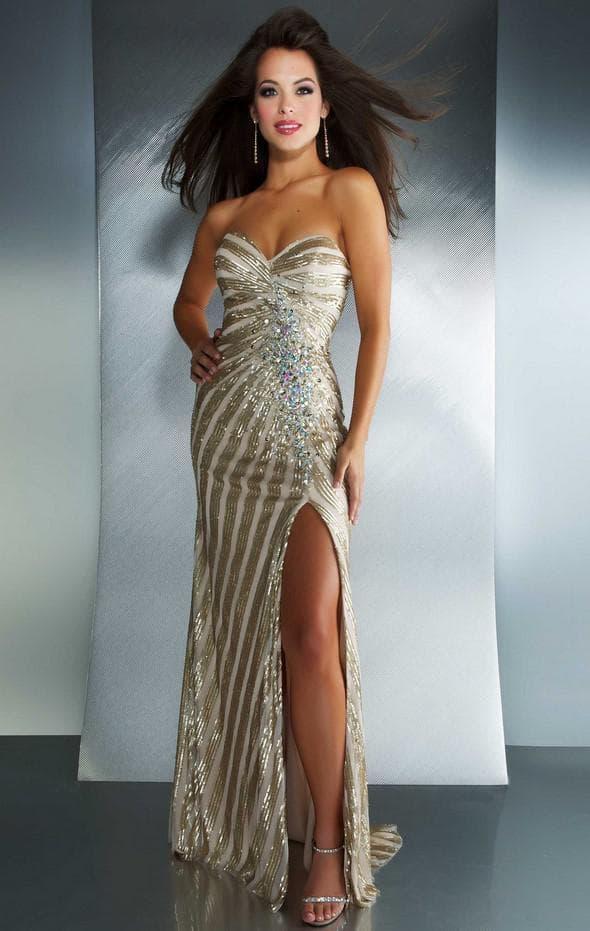 платье в пол с разрезом из блестящей ткани