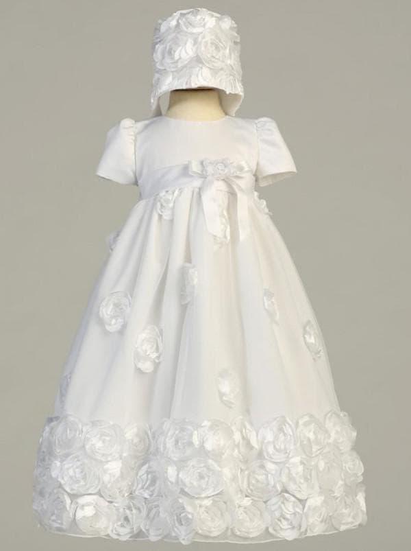 белое платье с розами на крестины