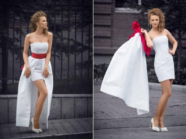 платье для невесты короткое спереди и длинное сзади