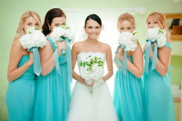 платья цвета тиффани для подружек невесты