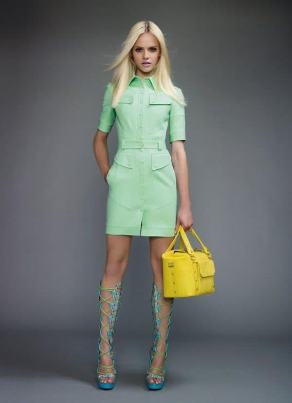 повседневное светло зеленое платье