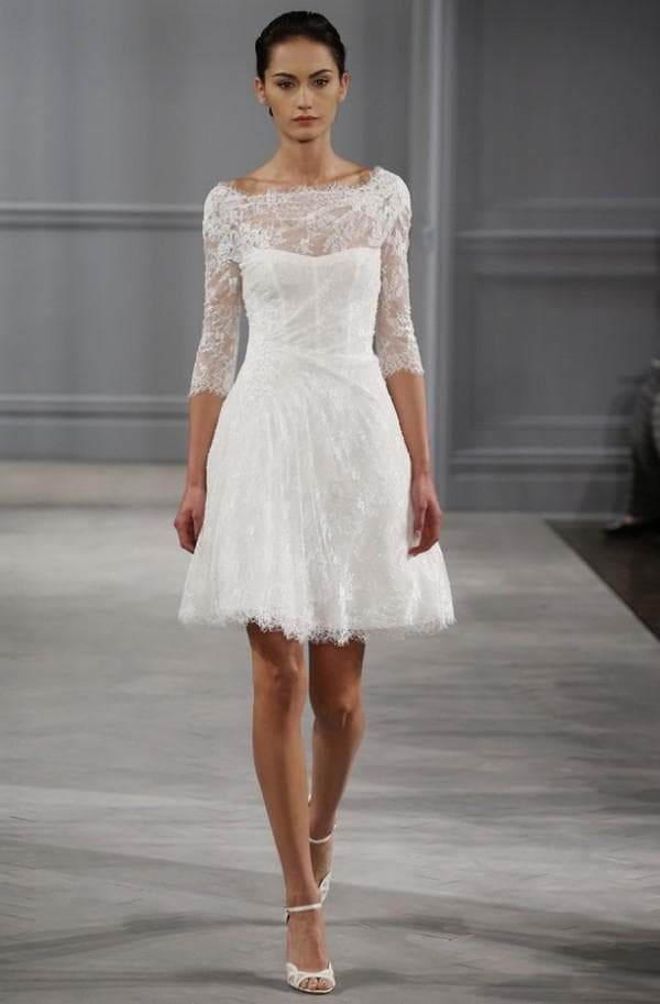 кружевное платье мини с рукавами