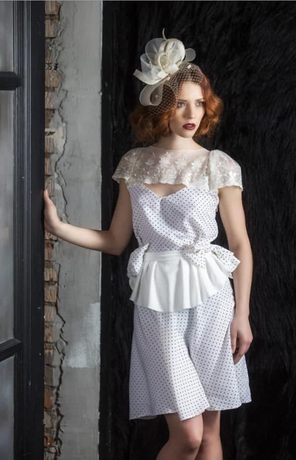 ретро свадебное платье в горох