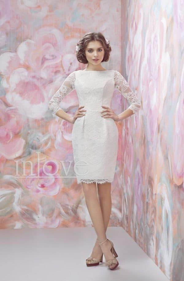 короткое кружевное платье для невесты
