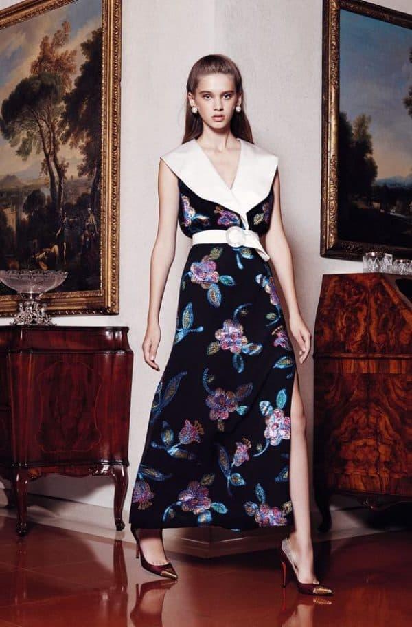 с чем надеть вечернее платье в цветочек