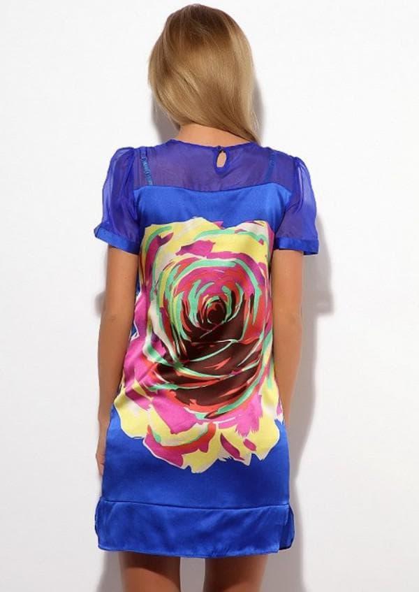 синее платье с цветком