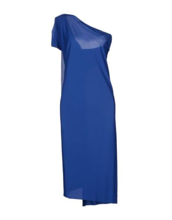 синее платье на одно плечо