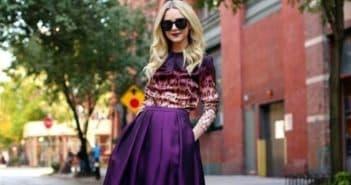 модное платье средней длины с пышной юбкой