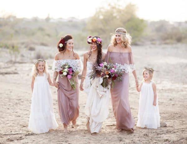 платья невесты и подружек на свадьбе в стиле бохо