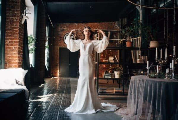 длинное платье невесты в богемном стиле