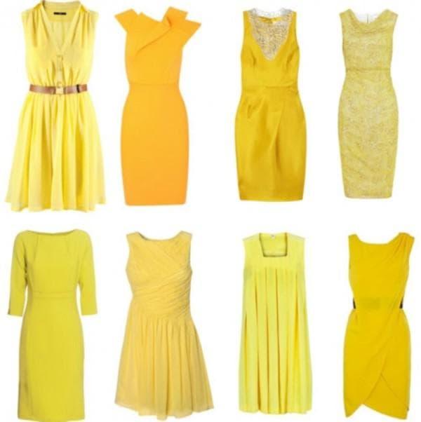 основные оттенки желтых платьев